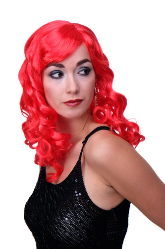 Party/Fancy Dress Lady WIG long fiery RED slightly curly FRINGE Hollywood Diva Femme Fatale