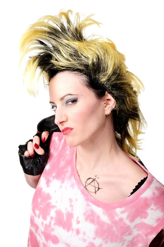 WIG ME UP - Party/Fancy Dress/Halloween Wig Mohawk 80ies Wave Glam Punk Black & Yellow