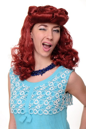 Party/Fancy Dress/Halloween Lady WIG long red 50ies Rock'n'Roll Rockabilly quiff Scarlett