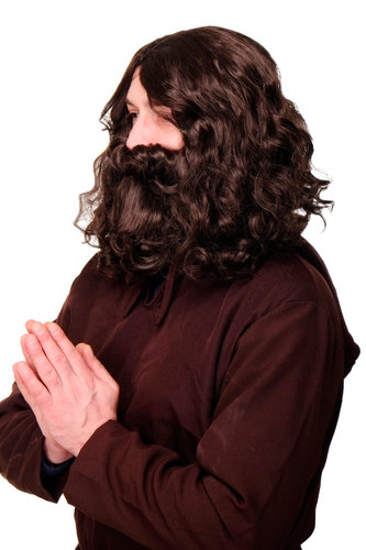 WIG ME UP - Party/Fancy Dress/Halloween brown Wig & Beard MOSES Prophet Messiah Hippy Hipster Monk
