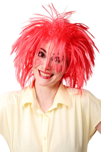WIG ME UP - Party/Fancy Dress/Halloween Wild Cosplay red wild Pixie Clown Troll Puck Punk