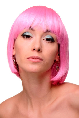 GFW248F-227 Lady Quality Wig Cosplay short bob fringe bangs pink straight disco glam 10""