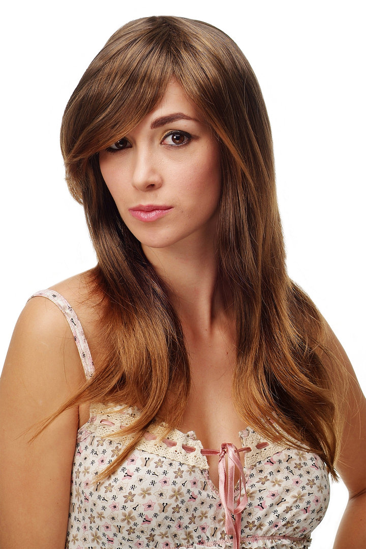 Stunning Lady Quality Wig Very Long Dream Wig Straight Brown Streaked With Blond Highlights 23