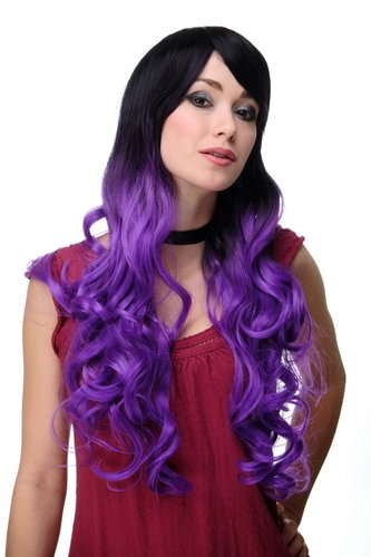 Stunning Lady Quality Wig very long Ombre Black & Purple parting fringe curly ends Gothic Emo