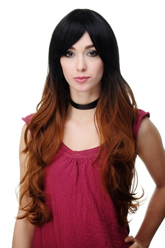 Stunning Lady Quality Wig very long Ombre Dark Brown & Copper Brown parting long fringe Gothic Emo