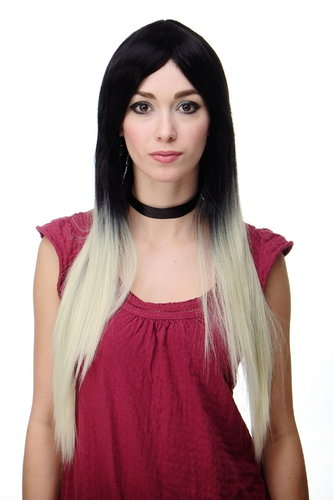 Stunning Lady Quality Wig extremely long Ombre Black Brown Platinum straight middle parting Gothic