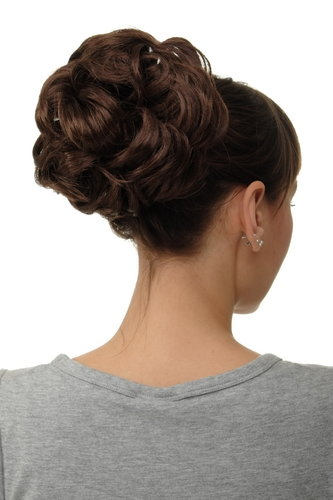 WIG ME UP ® Q840-6 Hairpiece Hairbun Bun Hair Rose bushy voluminous chocolate brown