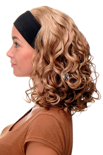 Perücke Stirnband Blond-Mix Locken Schulterlang BRO-704-G15