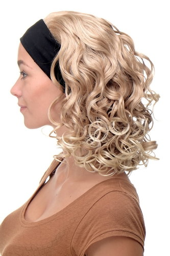 Perücke Stirnband Blond-Mix Locken Schulterlang BRO-704-27T613