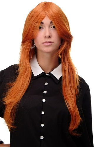 Lady Quality Wig medium length long bangs worn as side parting straight layered orange