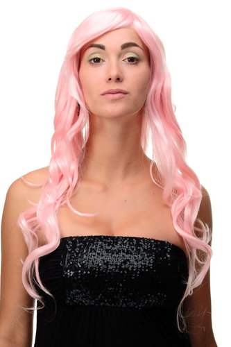 Stunning Lady Quality Wig Cosplay very long wavy fringe (for side parting) bright pink 27,5 inch