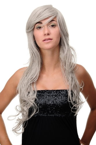Lady Quality Wig wavy curly & slightly straggly ends wet-look long fringe (for side parting) grey