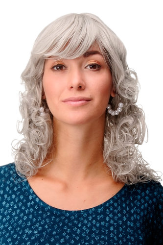 Incredibly Cute Lady Quality Wig Romantic Curls fringe parted shoulder length silvery silver grey