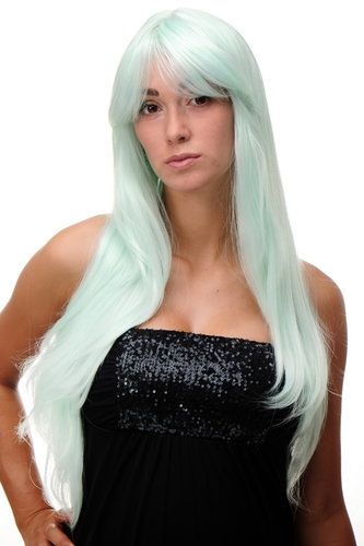 Lady Quality Wig Cosplay very long long bangs fringe can part to side straight bright green