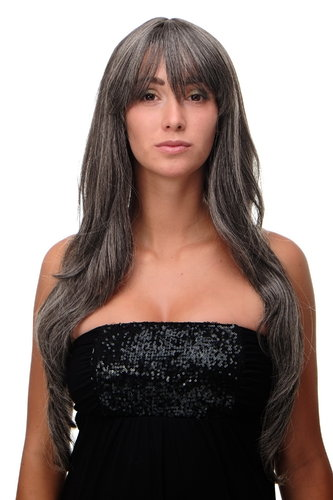 Lady Quality Wig Cosplay very long long bangs fringe can part to side straight dark grey