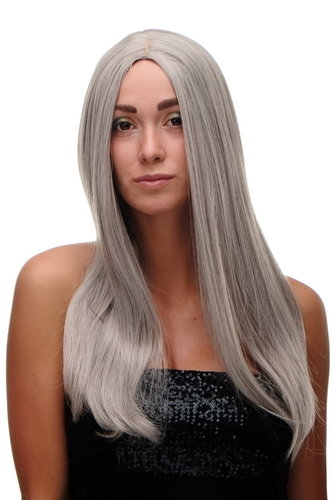 "SA-151-51 Lady Quality Wig long straight beautiful middle parting silver silvery grey old 23"" inch"
