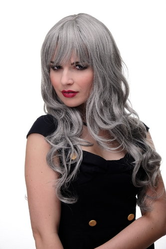 Lady Quality Wig very long beautiful curling ends straight top fringe bangs silvery grey