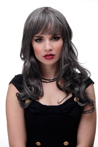 Lady Quality Wig very long beautiful curling ends straight top fringe bangs approx dark grey