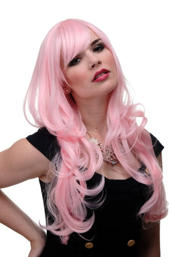 Lady Quality Cosplay Wig very long beautiful curling ends straight top fringe bangs bright pink