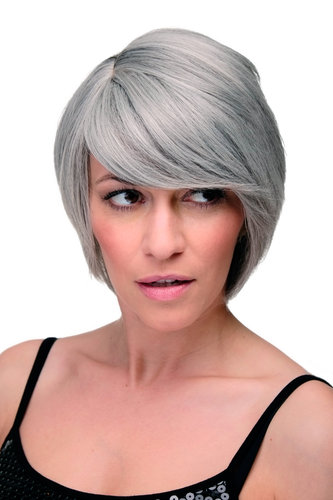 Lady Quality Wig Cosplay short long bob page side parting (of very long fringe) bright silver grey
