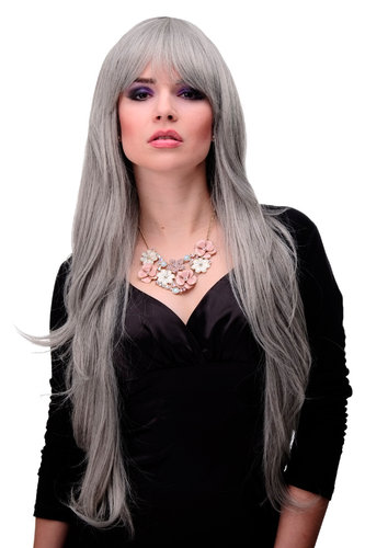 Lady Quality Wig extremely long voluminously layered finge bangs (can part to side) silver grey