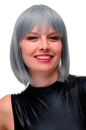 Lady Quality Wig Bob Longbob Blue Grey White strands streaked mix fringe bangs 12""