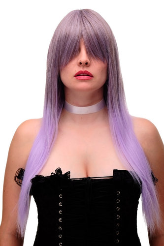 Weird & Wicked Lady Quality Wig Cosplay purple brown mix straight long fringe bangs 27""