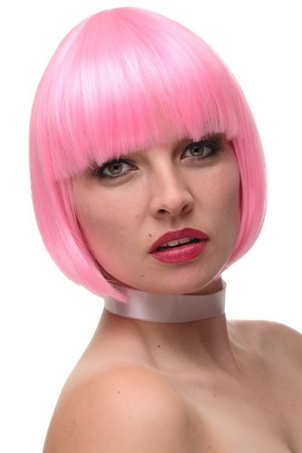 Lady Quality Wig Cosplay short bob fringe bangs bright pink mix straight disco glam 10""
