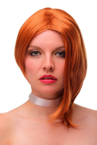 Stunning & Sexy Lady Quality Wig wild asymmetrical style one long side middle parting longbob red