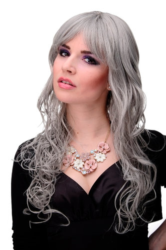 "Lady Quality Wig very long curly curled slightly stringy wetlook fringe silvery grey 23"" inch"