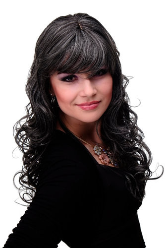 "M-103-44 Lady Quality Wig very long curly curled slightly stringy wetlook fringe dark grey 23"" inch"