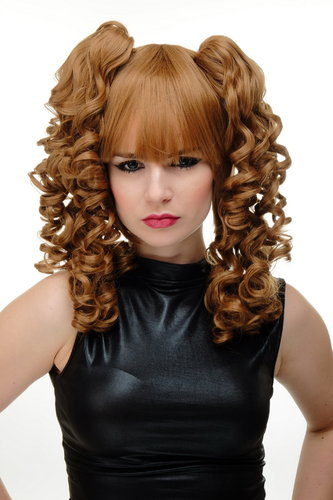 Lady Cosplay Quality Wig + 2 removable ponytails pigtails curled bangs ringlets strawberry blond