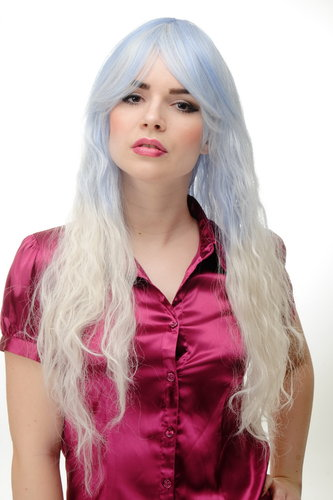 Lady Quality Wig Cosplay long kinked ombre light blue to white Ice Princess Snow Queen 30""