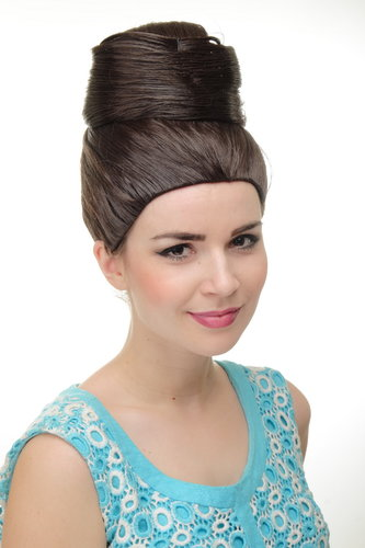 Lady Quality Wig Cosplay turban style towering beehive 50s 60s hairbun bun Diva chocolate brown