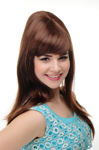 Stunning Lady Quality Wig Cosplay long straight 50s 60s beehive backcombed fringe bangs mahogany