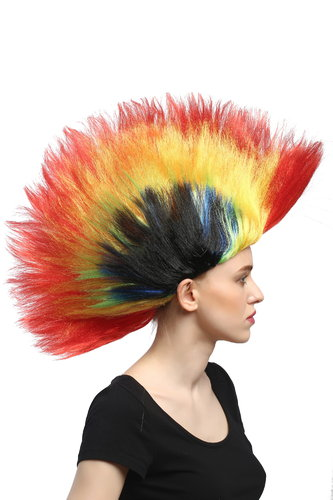 WIG ME UP ® - DH1159 Wig Ladies Men Halloween Carnival Fan colourful mohawk punk spikey