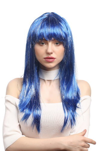 XR-003-PC3 Lady Party Wig Halloween long straight bangs streaked with silver tinsel strands blue