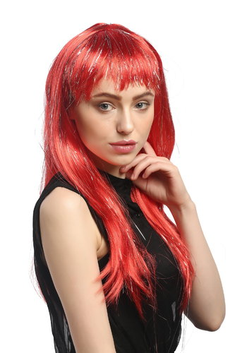 XR-003-PC13 Lady Party Wig Halloween long straight bangs streaked with silver tinsel strands red