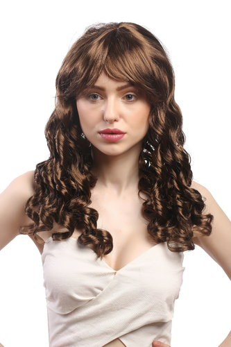Lady Party Wig Halloween Gothic Lolita long baroque colonial romantic corkscrew curls coils brown