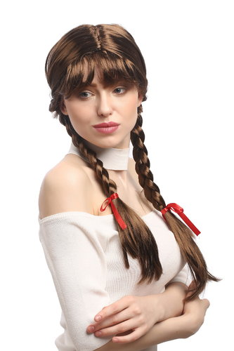 Lady Party Wig Halloween Lolita schoolgirl long braided plaits with ribbons fringe brown 23""