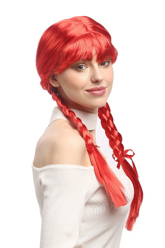 Lady Party Wig Halloween Lolita schoolgirl long braided plaits with ribbons fringe red 23""