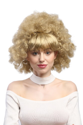 Lady Party Wig Halloween Fancy Dress 60s 70s funky afro style beehive curly fringe bangs blond