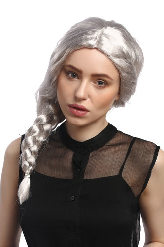 Lady Party Wig Fancy Dress silvery grey middle parting long braided ponytail fairy godmother witch