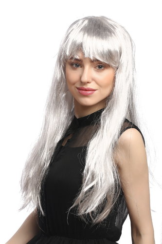 Lady Party Wig Halloween Fancy Dress Cosplay long straight silver grey fringe bangs witch old 26""