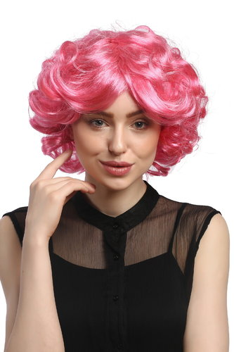 DEC31-PC28/41 Lady Party Wig Halloween Cosplay short voluminous curly curls pink 80s Pop Star Diva