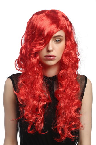 Lady Party Wig Halloween Cosplay long wavy to curly fiery seductive red sexy parting Diva