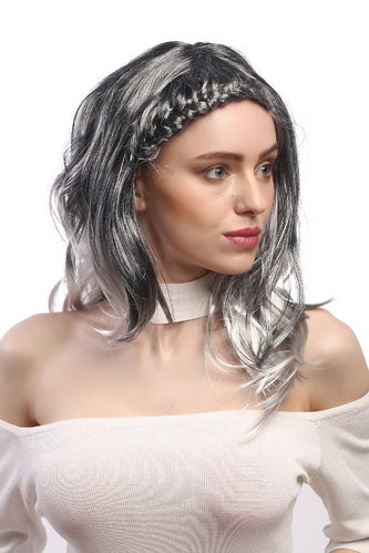 Lady Party Wig Halloween elaboratedly braided parting ombre straight black & silvery grey