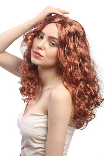 SAR065-P130 Lady Party Wig Halloween long wavy to curly voluminous middle-parting coppery red 20""