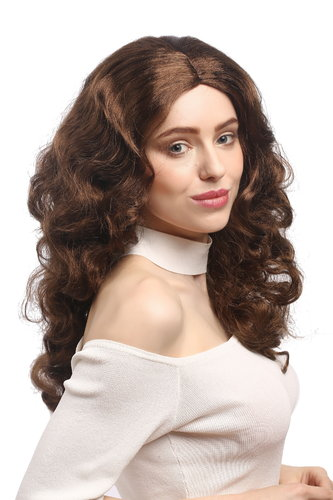 Lady Party Wig Halloween Fancy Dress Diva brown wavy volume middle parting great volume 20""