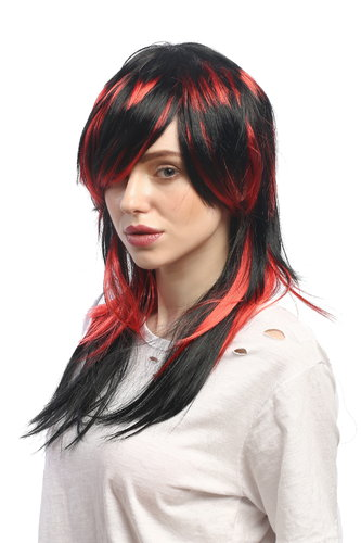 Lady Party Wig Cosplay sexy Emo witch She-Devil vampire black red strands long straight Goth Punk